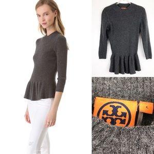 Tory Burch Madeline Gray Peplum Sweater Size L
